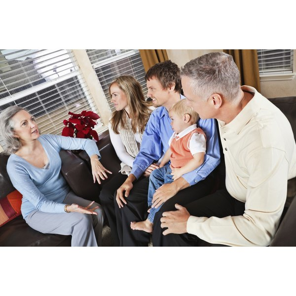 Family talking in living room