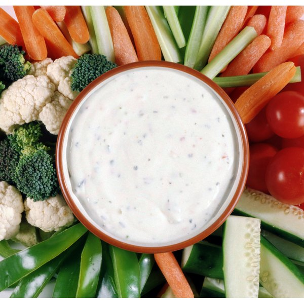Veggies and ranch dressing.