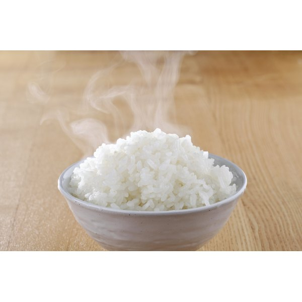 A bowl of hot white rice.
