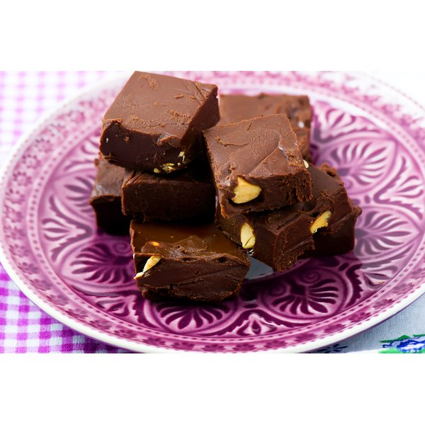 A plate with squares of chocolate fudge.