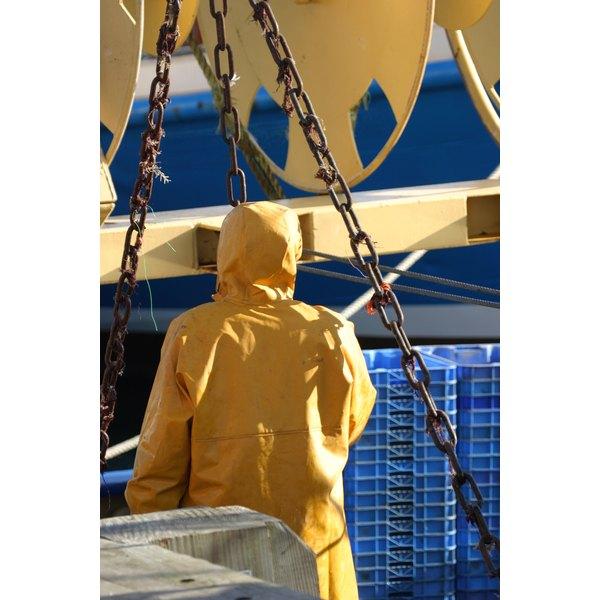 Oilskin coats are often worn in shipping settings.