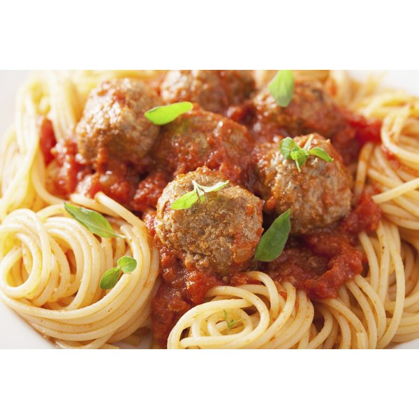 Spaghetti and meatballs on a plate.