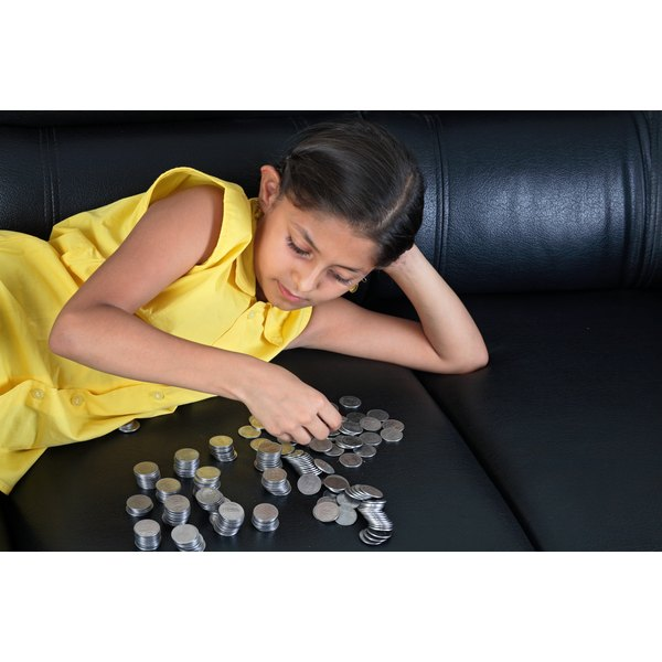 Paying a younger child's allowance in coins makes it easier for her to calculate tithes.