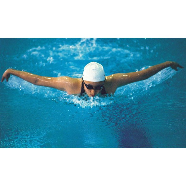 Woman swimming the butterfly stroke.