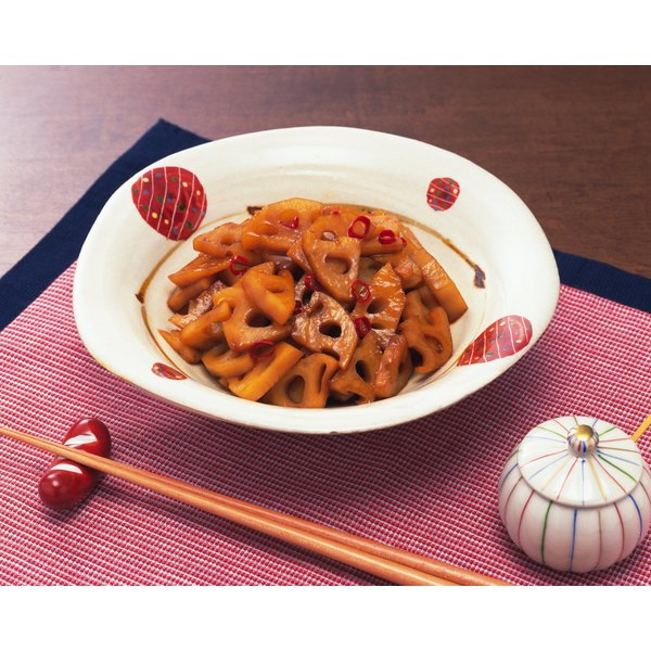 Lotus root used in a meal.