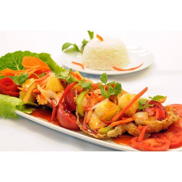 A plate of sweet and sour tilapia.
