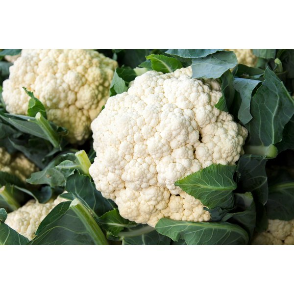 Cauliflower for sale at a market.