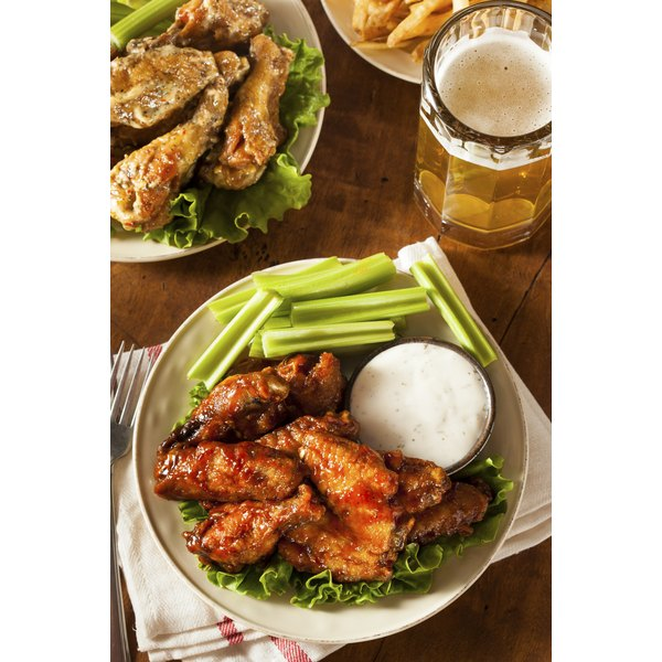 Wild Wing Cafe serves a variety of buffalo wings with homemade bleu cheese or ranch dipping sauce.