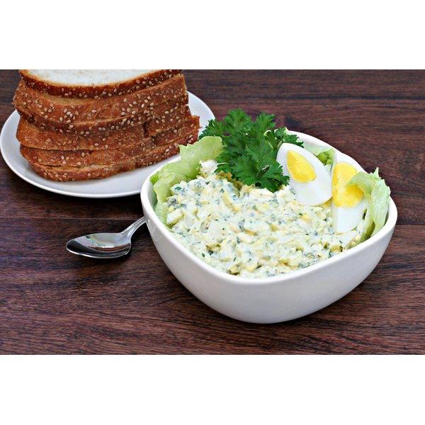 A bowl of freshly made egg salad.