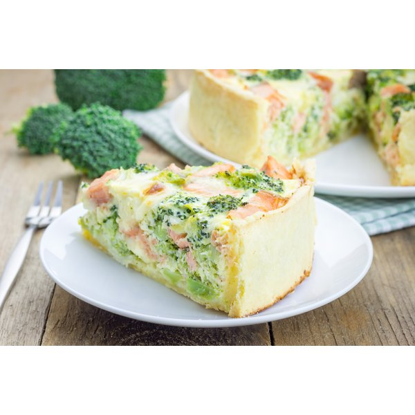 A salmon and broccoli quiche.