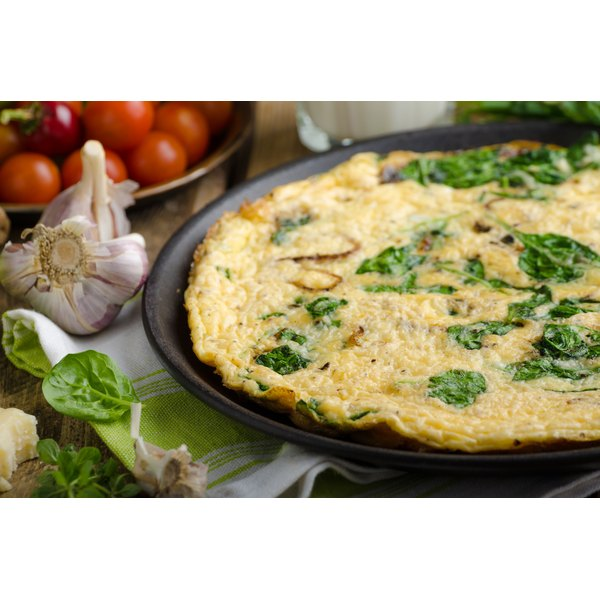 A close-up of a vegetable frittata.