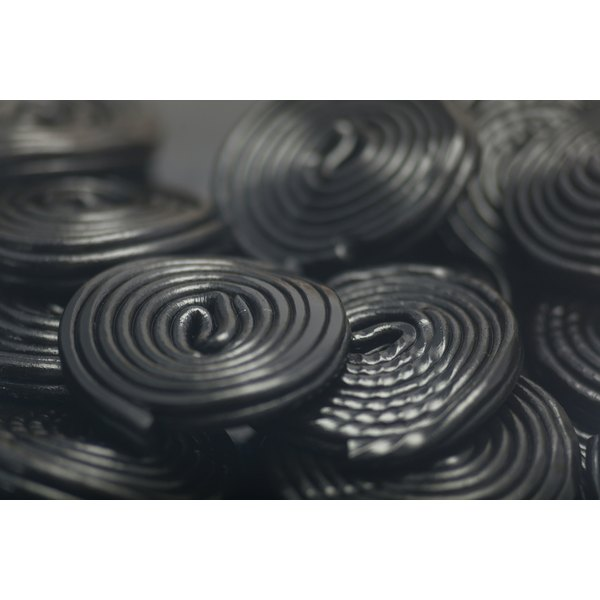 A close-up of black licorice candy.