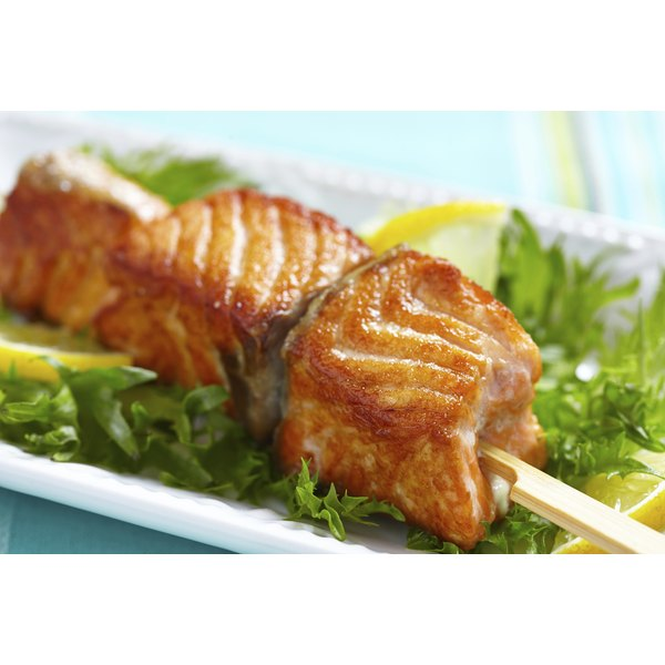 Salmon fillets create solid, delicious fish kebabs.