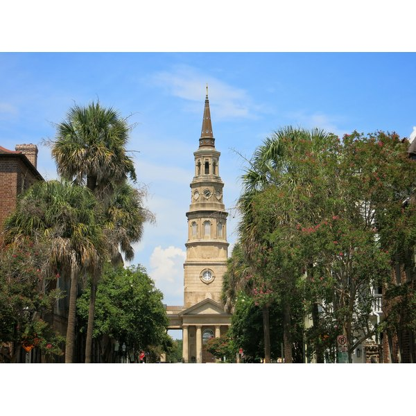 A view of St. Phillip's Episocpal church in Charleston South Carolina.