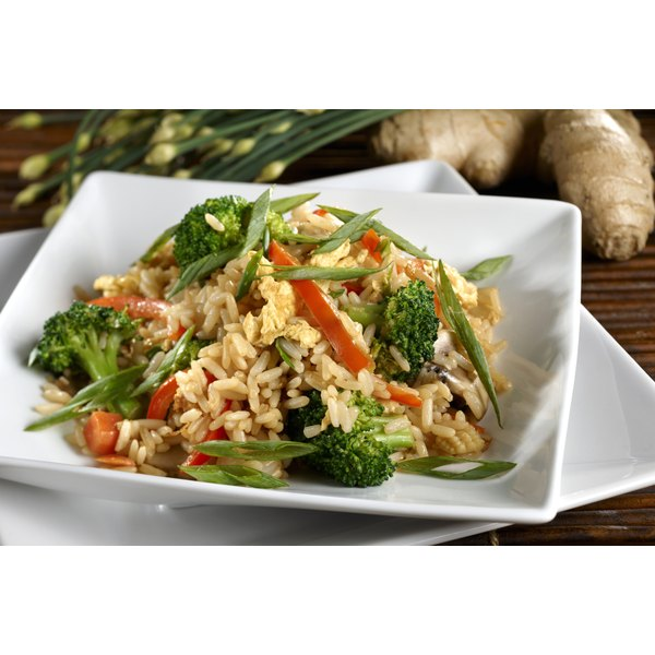 Brown rice and steamed vegetables makes a very nutritious meal.