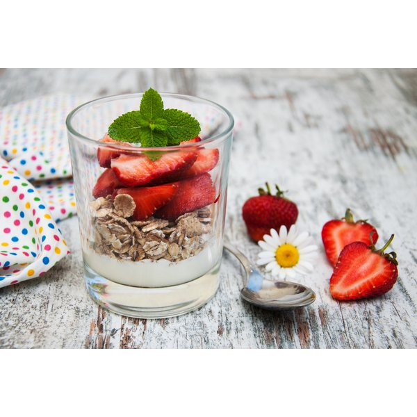 A fruit and yogurt parfait.