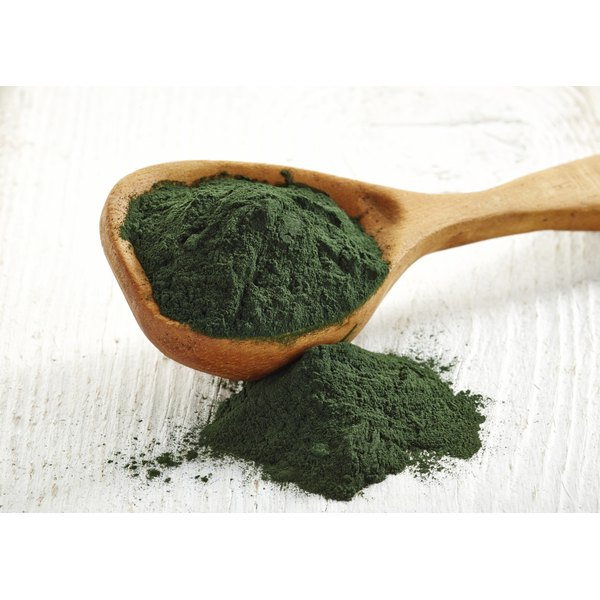 A heaping scoop of spirulina powder.