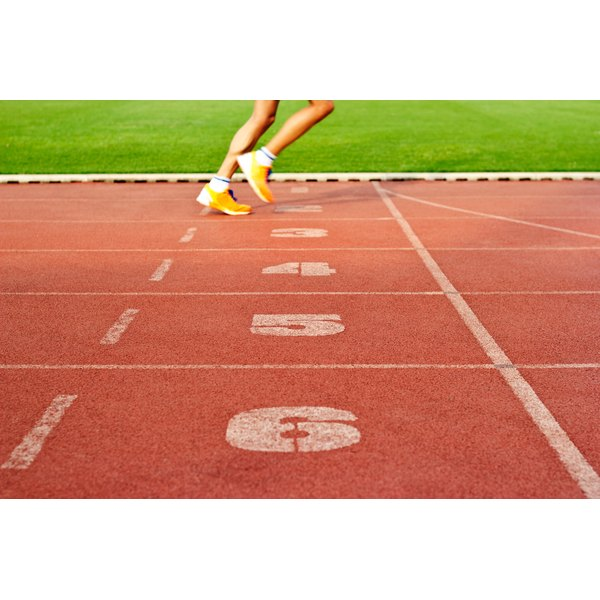 Close up of a runner on the track field