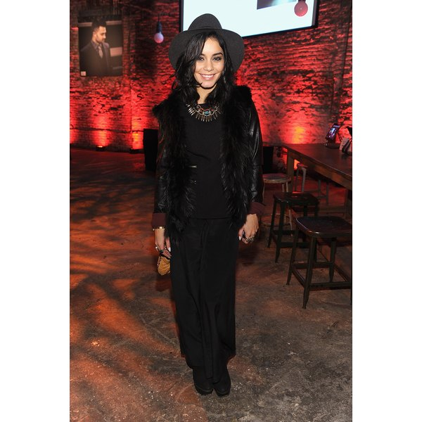 Petite actress Vanessa Hudgens wears a maxi skirt at the celebration for The New JohnVarvatos.com.