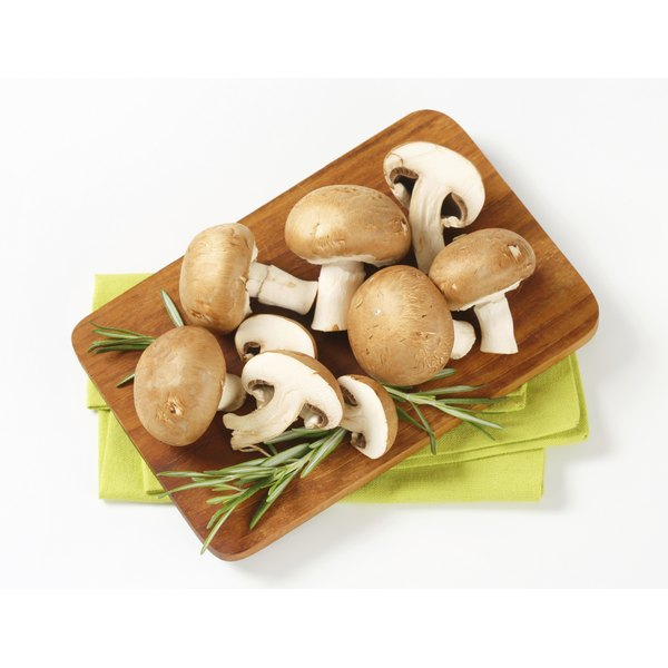 Crimini mushrooms are related to white button mushrooms.