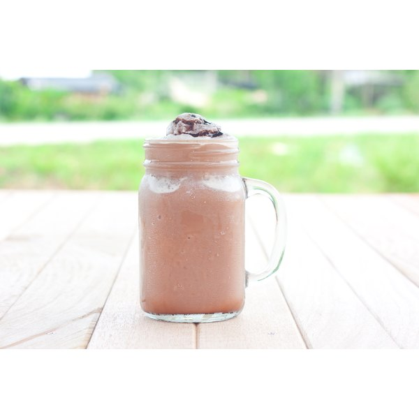 A chocolate smoothie in a glass.