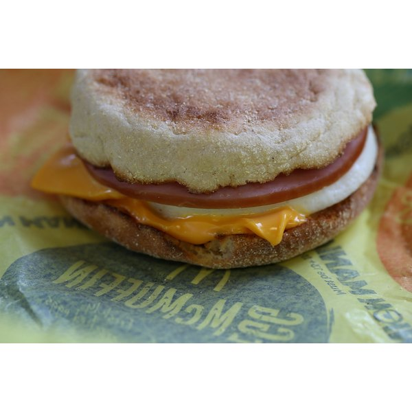An egg McMuffin served at a McDonalds.