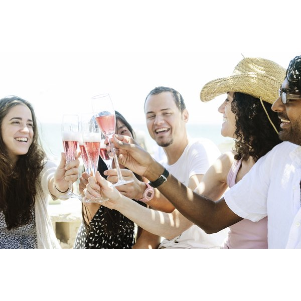 A group of friends is toasting at a party.