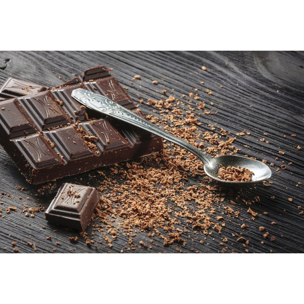 Dark chocolate bar and cocoa powder on spoon
