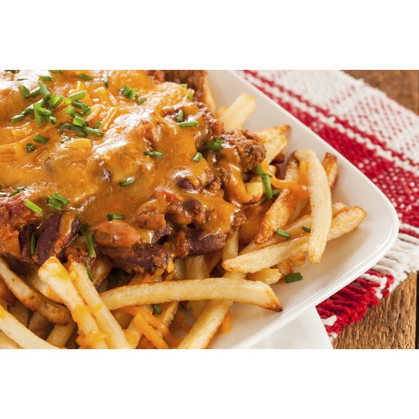 Chili fries served on a table.