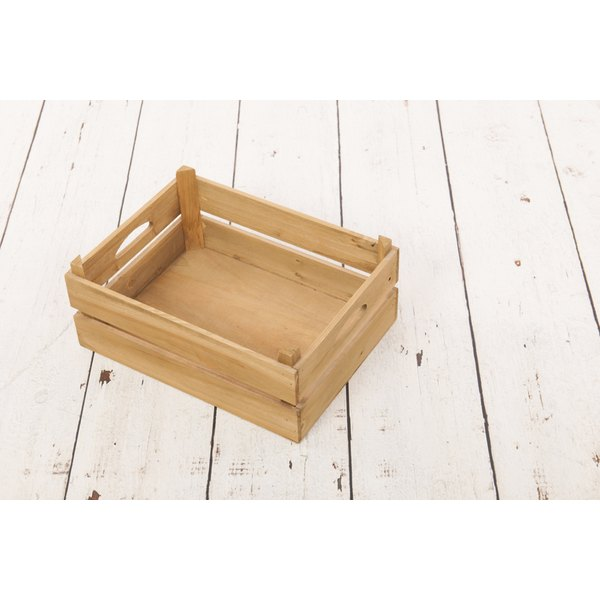 Milk crates, like this refurbished vintage one, are used for a wide variety of purposes, from gift baskets to home organization.