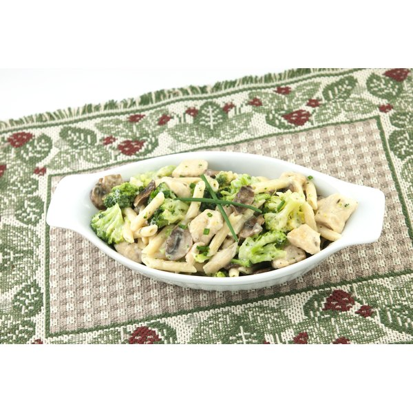 A large dish of pasta primavera.