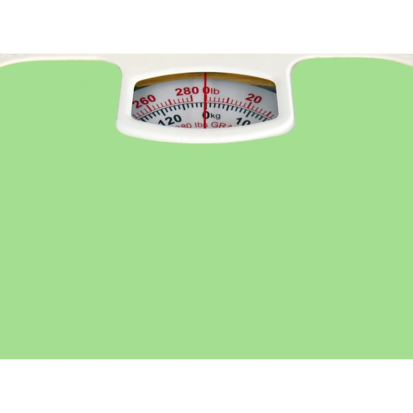 A green bathroom scale.