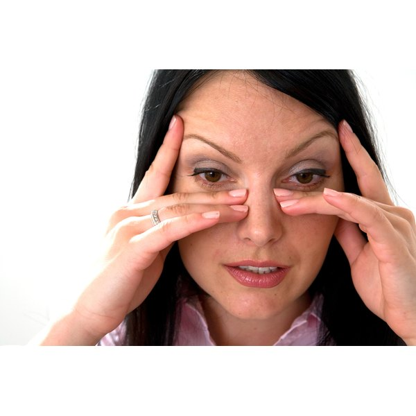 Woman with sinus pressure