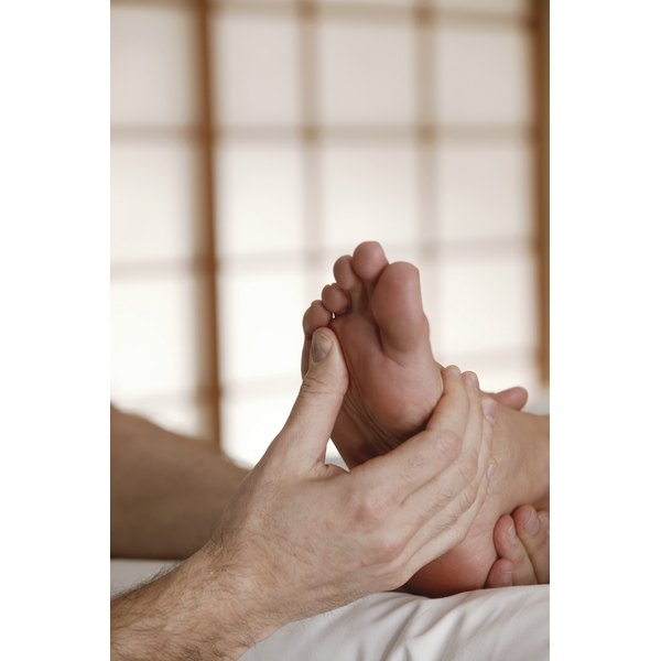 Pressing on specific areas of the foot stimulate organs and other parts of the body.