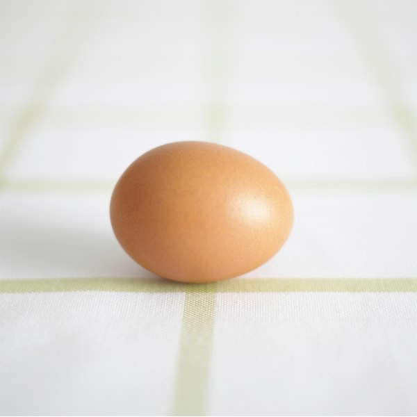 A brown egg on a countertop.