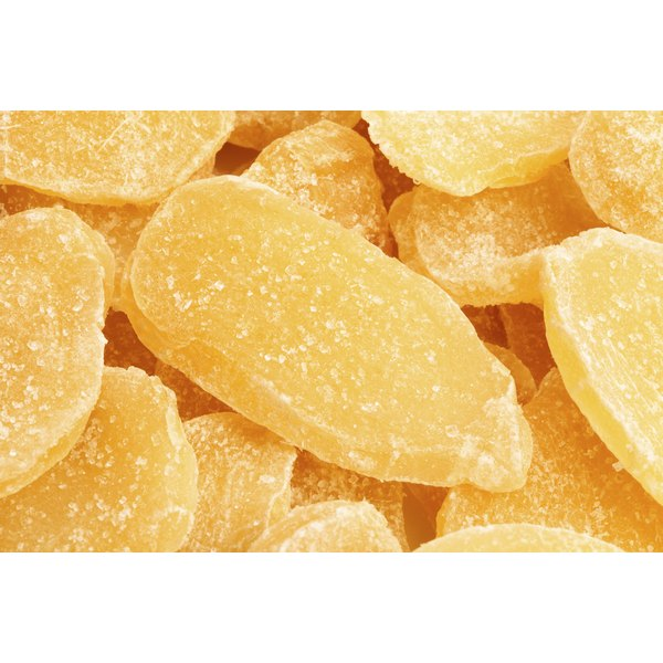 A closeup of candied ginger.