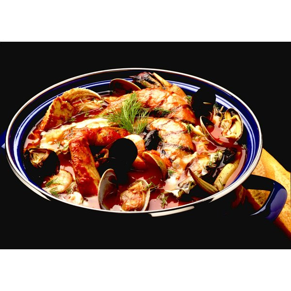 French bouillabaise soup uses an assortment of fish and vegetables.