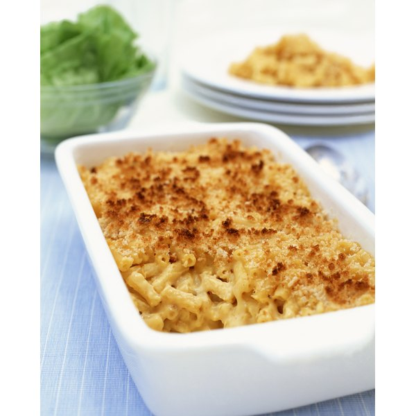 Baked mac and cheese with bread crumbs makes a filling casserole.