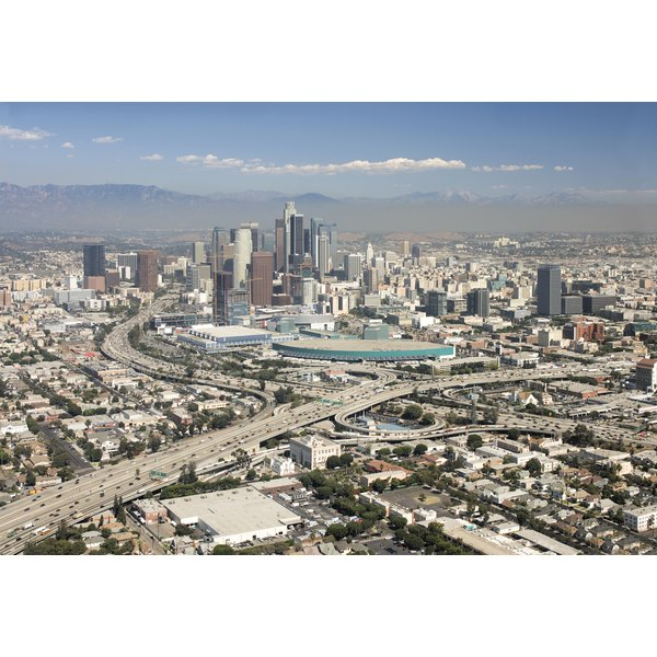 A scenic view of the Los Angeles skyline.