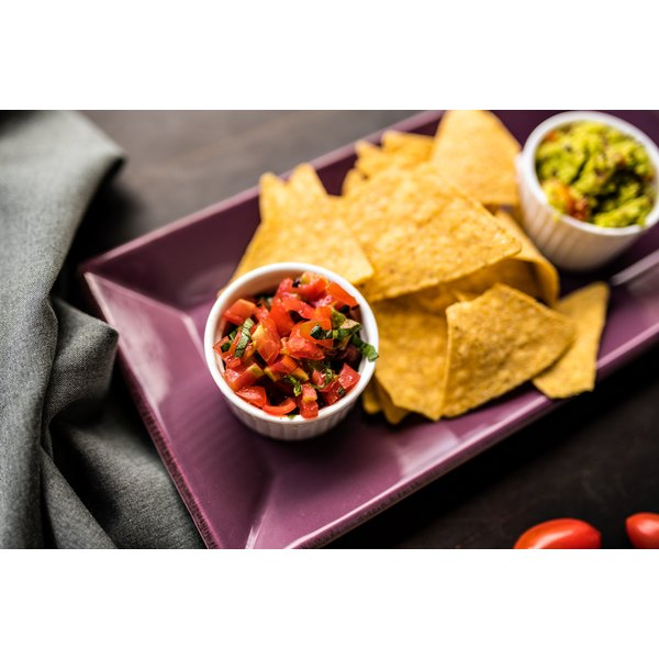 A plate of chips and salsa.