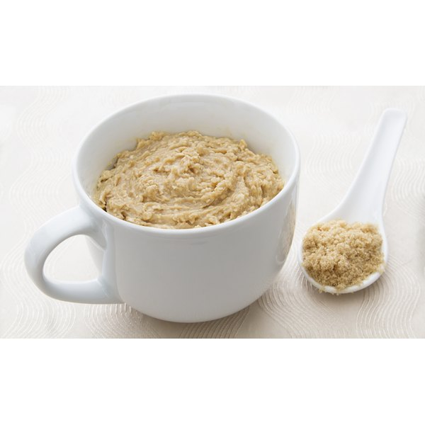 A large mug filled with oatmeal.