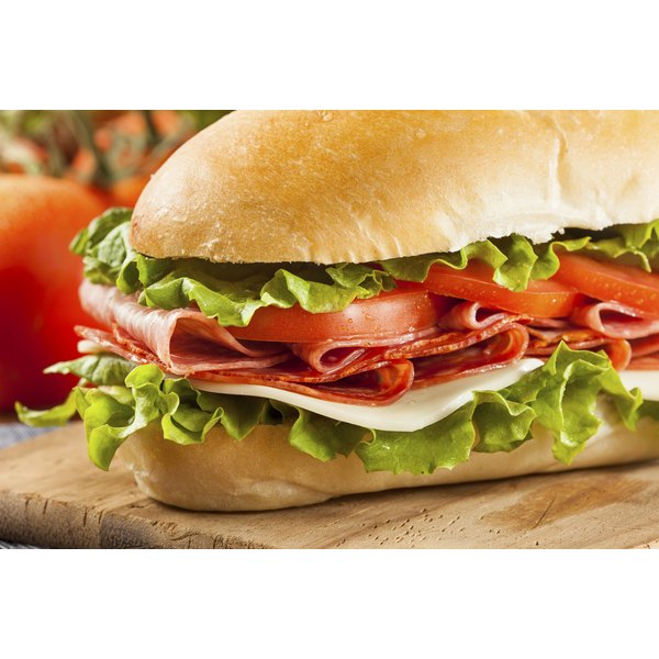 Close-up of a giant sub sandwich.