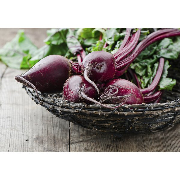 A basket of fresh beets.