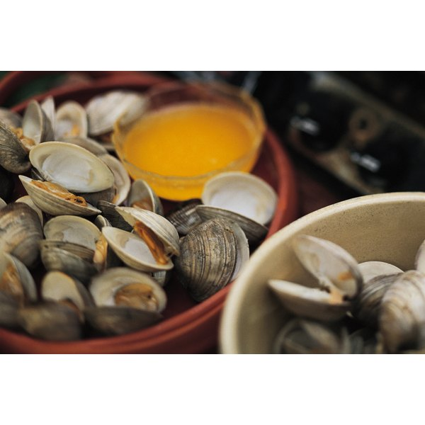 Clams are served in their shells raw or cooked.