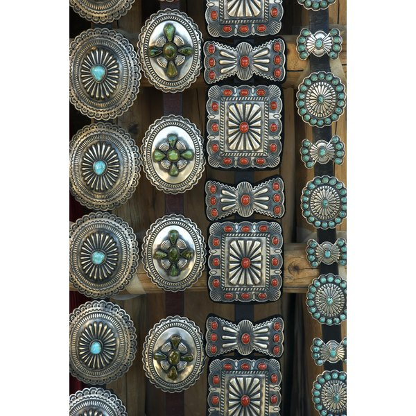 Concho belts often have turquoise and coral colors.