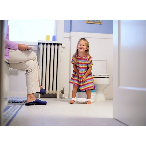 A girl is potty training with her mother in the bathroom with her.