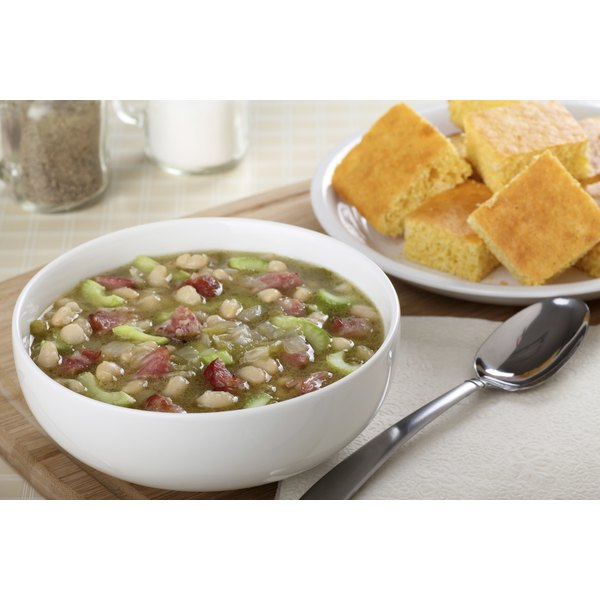 A large bowl of ham and bean soup.
