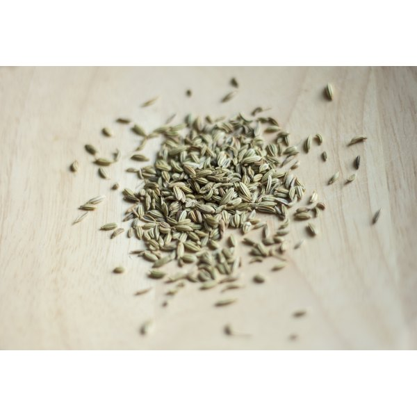 A pile of fennel seeds on a counter.