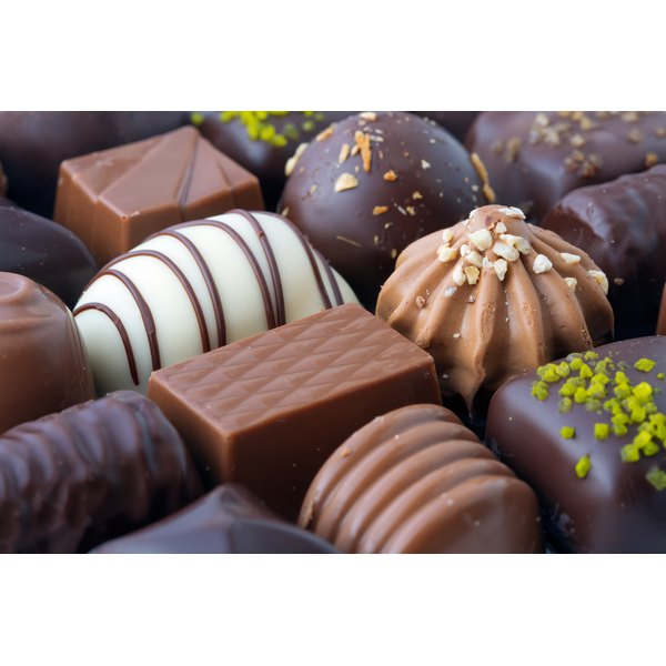 A close-up of a box of chocolates.