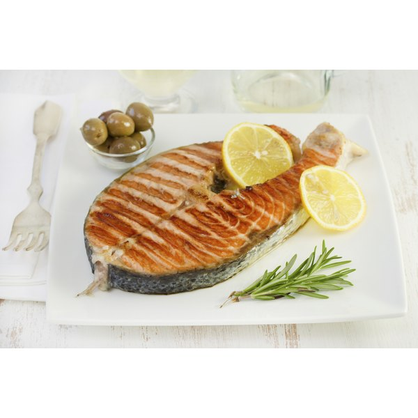 A plate of grilled salmon.